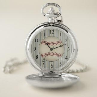 Regalo azul del reloj de bolsillo del béisbol del