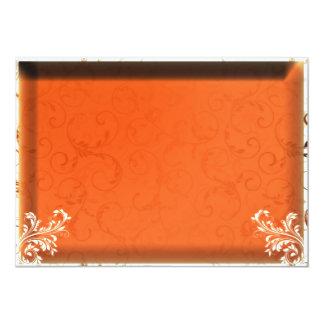 Regalo de boda anaranjado oscuro del damasco invitación 12,7 x 17,8 cm