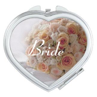 Regalo de boda blanco subió melocotón rústico de espejo para el bolso