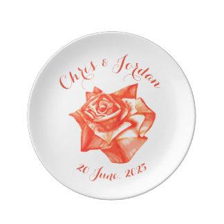 Regalo de boda elegante simple color de rosa plato de porcelana