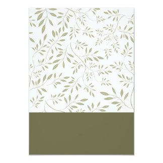 Regalo de boda floral expresivo de las hojas del invitación 12,7 x 17,8 cm
