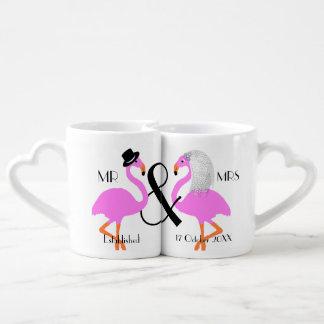 Regalo de boda personalizado novio de la novia del set de tazas de café