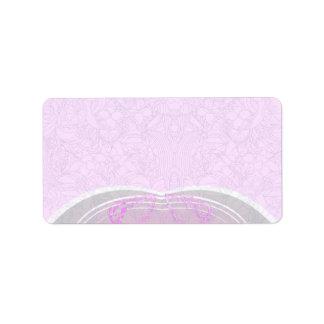 Regalo de boda rosado y gris expresivo del damasco etiqueta de dirección
