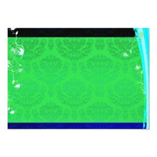 Regalo de boda verdoso lindo del damasco invitación 12,7 x 17,8 cm