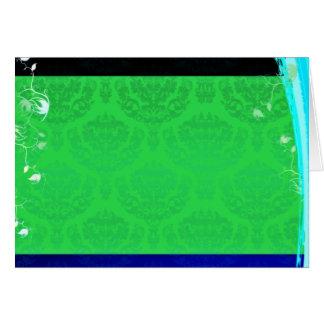 Regalo de boda verdoso lindo del damasco tarjeta de felicitación