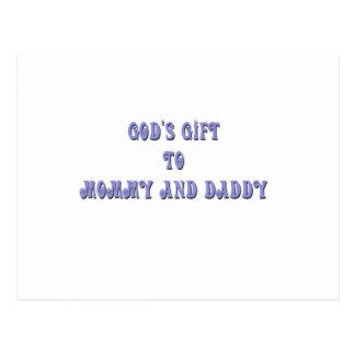 Regalo de dioses al azul de la mamá y del papá postal