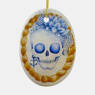 regalo de la decoración del hogar del cráneo del adorno ovalado de cerámica