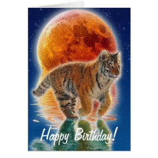 Regalo de la fauna del gato grande del tigre tarjeta de felicitación