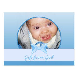 Regalo de la foto del bebé del verso azul de la postal