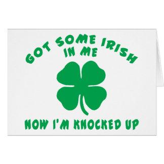 Regalo de maternidad embarazada irlandés divertido tarjeta de felicitación
