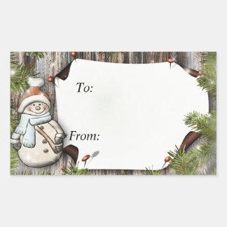 Regalo de Navidad a y desde etiquetas Pegatina Rectangular