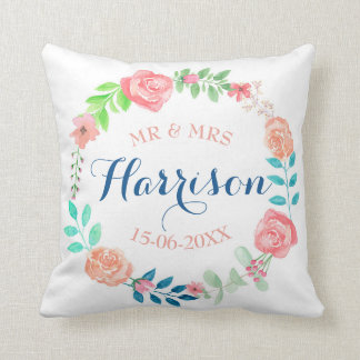 Regalo de Sr. y de señora Floral Wedding Cushion Cojín Decorativo