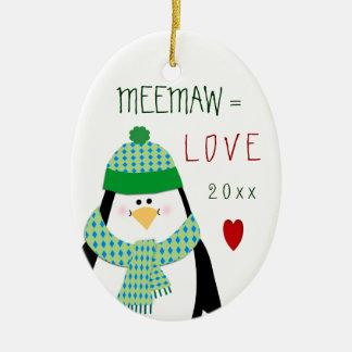 Regalo del navidad del pingüino de MeeMaw del amor Adorno Navideño Ovalado De Cerámica