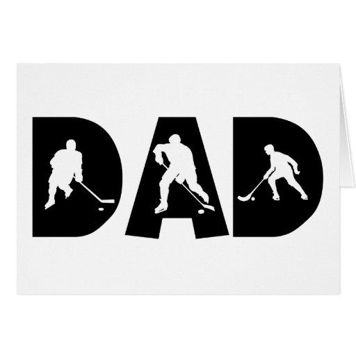 Regalo del papá del hockey tarjeta
