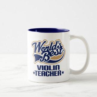 Regalo del profesor del violín taza de café de dos colores