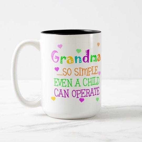 Regalo divertido de la abuela taza de café de dos colores