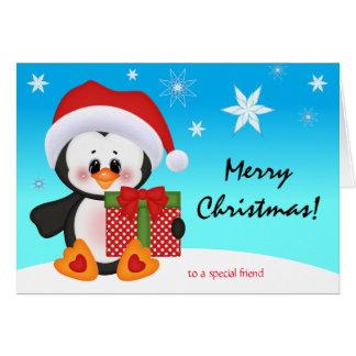 Regalo divertido lindo del pingüino de la tarjeta