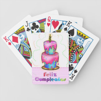 Regalo español de la torta de cumpleaños de la div baraja cartas de poker