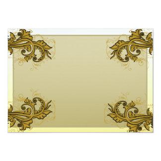 Regalo especial floral expresivo de oro oscuro invitación 12,7 x 17,8 cm