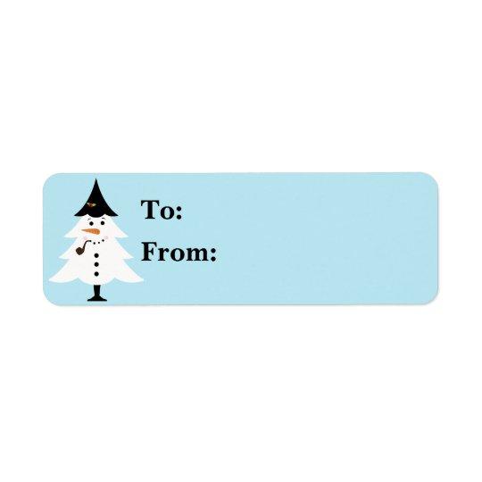 Regalo Lables del muñeco de nieve del árbol de Etiquetas De Remite