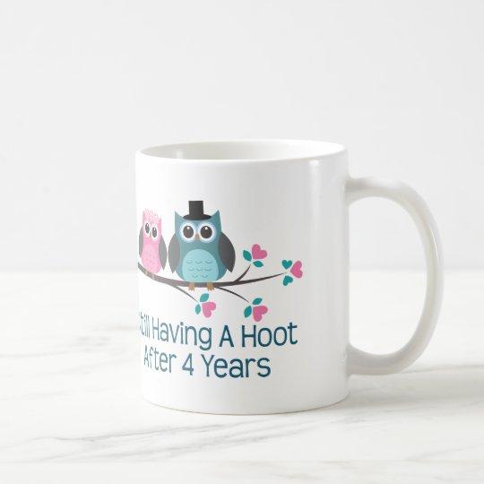 Regalo para el 4to pitido del aniversario de boda taza de café