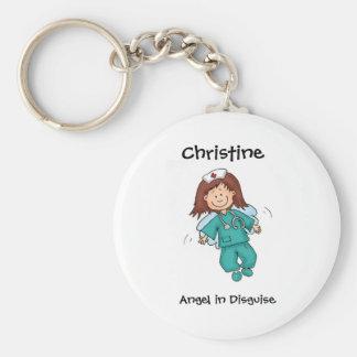 Regalo para la enfermera - personalice con nombre llavero redondo tipo chapa
