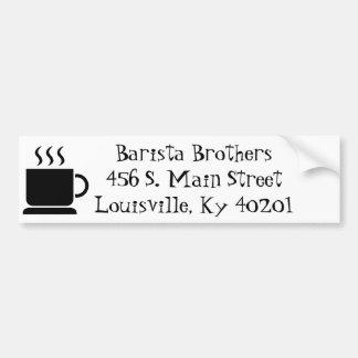 Regalo personalizado amante negro del café con lec pegatina de parachoque