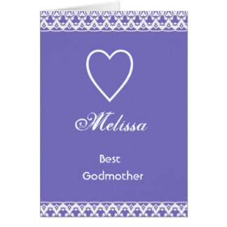 Regalo púrpura y blanco de la mejor madrina del tarjeta de felicitación