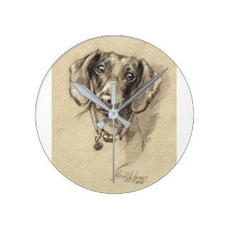 Regalo redondo del amante del perro del reloj del
