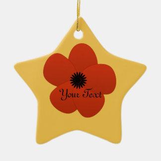 Regalo rojo brillante de la flor de las vacaciones adorno navideño de cerámica en forma de estrella