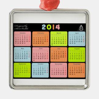 Regalo útil con el calendario para 2014 adorno navideño cuadrado de metal