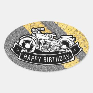 Regalo y favor del fiesta del feliz cumpleaños del pegatina ovalada