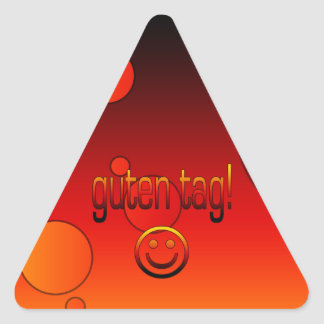 Regalos alemanes: Hola/etiqueta de Guten + Cara Pegatina Triangular