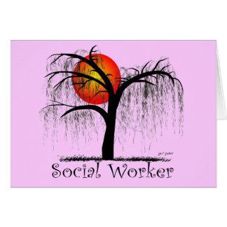 Regalos artsy del árbol del asistente social tarjeta de felicitación