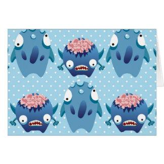 Regalos azules locos de las criaturas de la tarjeta