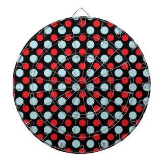 Regalos azules y rojos del modelo de lunares tablero dardos