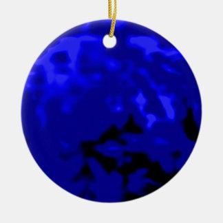 Regalos ciánicos azules de Zazzle del MUSEO del Adorno Navideño Redondo De Cerámica