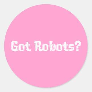 Regalos conseguidos de los robots pegatina redonda