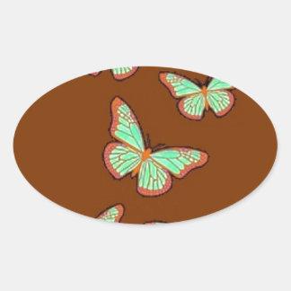 Regalos de Brown de las mariposas del verde de Pegatina Ovalada