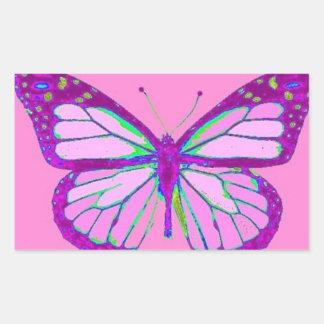 Regalos de color de malva púrpuras de la mariposa pegatina rectangular