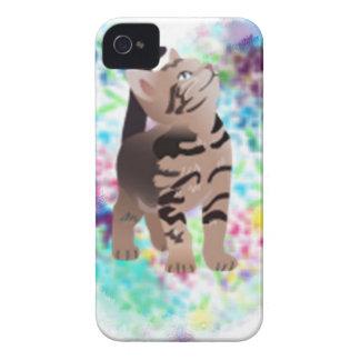 Regalos de la aguamarina del corazón del gatito iPhone 4 fundas
