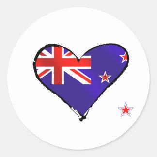 Regalos de la bandera del corazón del amor de pegatina redonda