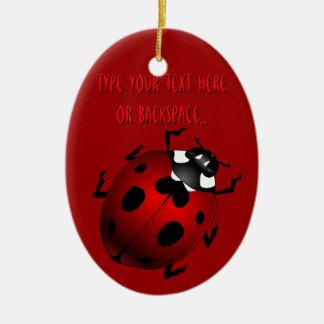 Regalos de la mariquita del recuerdo del insecto ornamento de navidad
