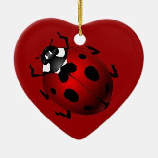 Regalos de la mariquita del recuerdo del insecto adorno navideño de cerámica en forma de corazón