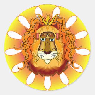 Regalos de la melena de los leones etiqueta redonda