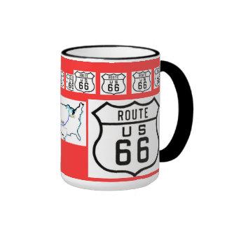 Regalos de la muestra del vintage de la ruta 66 tazas de café