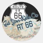 regalos de la ruta 66 etiqueta redonda
