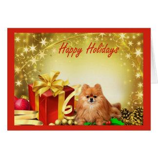 Regalos de la tarjeta de Navidad de Pomeranian
