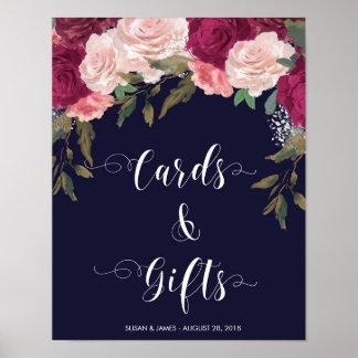 Regalos de las tarjetas que casan el rosa de la póster