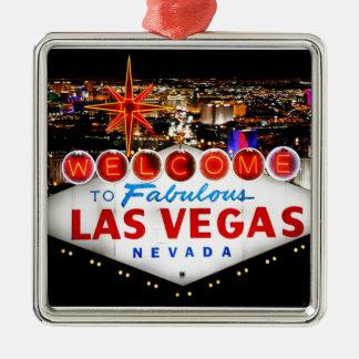 Regalos de Las Vegas Adorno Cuadrado Plateado